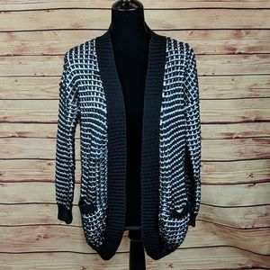 Only Open Cardigan, Size Small, Black and White
